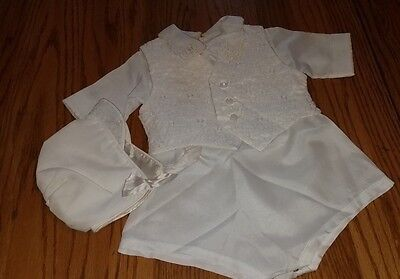 ADORABLE Vintage Baby Boy 3 Pc. CHRISTENING OUTFIT~Romper, Vest & Hat!
