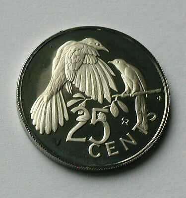 1973 BRITISH VIRGIN ISLANDS Elizabeth II Proof Coin - 25 Cents - Cuckoo bird