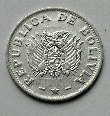 1987 BOLIVIA Coin - 50 Centavos - EF+ stainless-steel composition