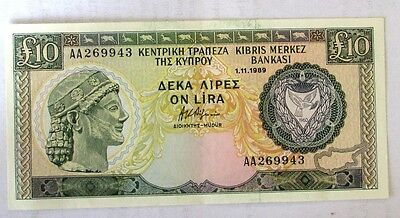 Cyprus  Bank Notes -    £10       1.11.1989        AA269943   UNC