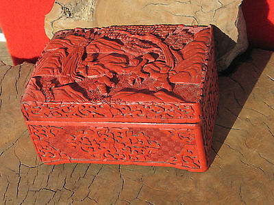 A1107 Antique 19th C Chinese Lacquered Cinnabar Box