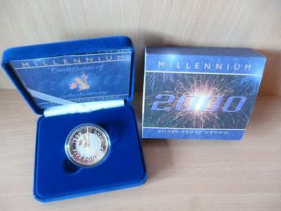 2000 Silver Proof Crown £5 Coin The Millennium Royal Mint Cased With Coa.