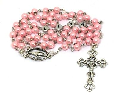 Rosary beads PERSONALISED Any Name Pink pearl  Religious Gift Holy communion