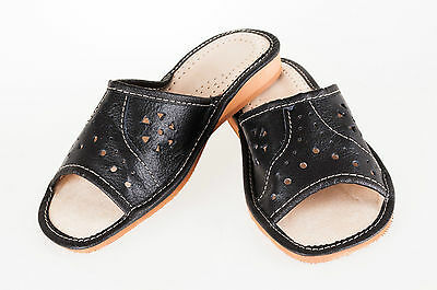 Lady's Women Flip Flop Leather Slippers Orthopedic Insole Shoes Sandals Black