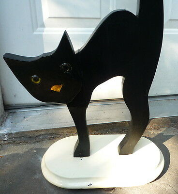 Vintage 1930s Folk Art Black Cat with Glass Eyes Stand Wood MINT Cup Holder