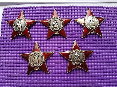 "Original USSR set of military silver orders ""RED STARS"" 5 ps. for restoration"