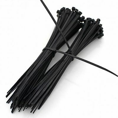 300mm x 4.8mm BLACK NYLON CABLE TIES / ZIP TIES FOR FASTENING CABLES & WIRES