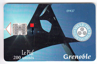 Piaf Parking Carte / Card .. 200U Grenoble Art R° +N° M38030 5.000Ex. Chip/puce