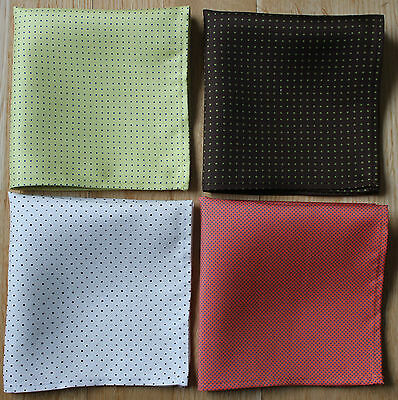 Pin Dot Hand Printed Silk Handkerchief Pocket Squares Hand Made In Uk