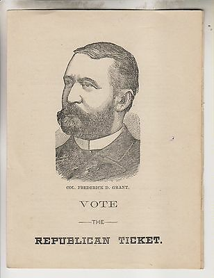 1887 Flyer - Col. Frederick D Grant For Secretary Of State Ny - Vote Republican