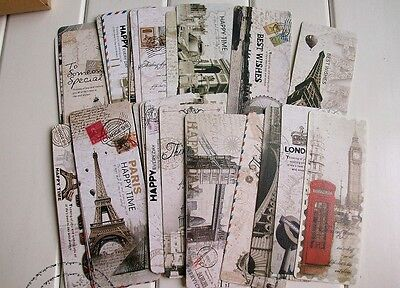 30pc Cute Vintage Postcard Style London Paris Attractions Bookmarks Readers Gift