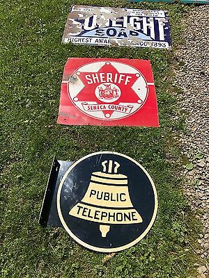 Rare Vintage 2 Sided PUBLIC Telephone  Flange Sign Large 18 inch size BELL