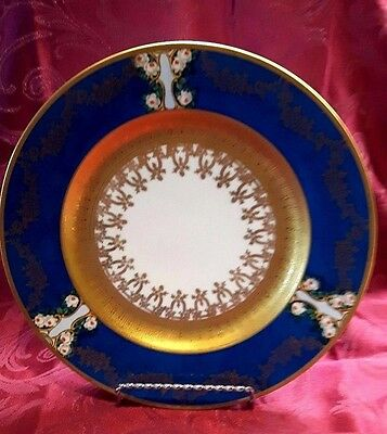 """11 EPIAG """"POWDER BLUE"""" with 22K GOLD ENCRUSTED DINNER PLATES,MINT-CIRCA-1930"""