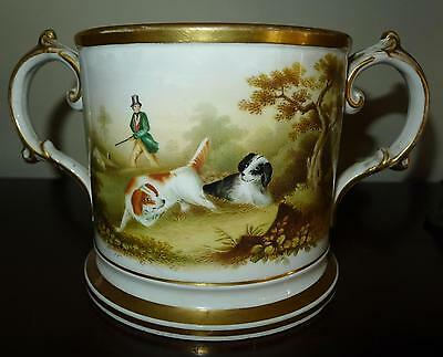 Big English c.1858 Dog Hunt Scene Prentation Loving Cup Vase Cup INCREDIBLE OLD