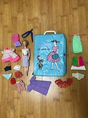 Vintage 1960s BARBIE LOT w/ CASE CLOTHES ACCESSORIES doll antique fashion Midge
