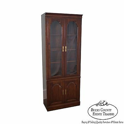 Georgian Court Solid Cherry Glass Door Bookcase Curio Cabinet by Kling