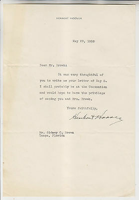 May 29 1936 Herbert Hoover Autograph Letter To Sidney Brown