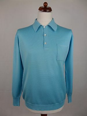 Vtg 70S Long Sleeve Blue Acetate Blend Polo Shirt Mod Northern Soul -L- DZ70