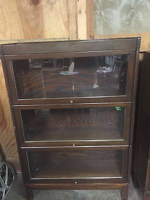 """Vintage Wood Barrister Bookcase 50"""" Tall (2)"""
