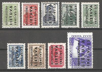 "Lithuania ""Nepriklausoma"" 1941 WW-2 German Occupation,Mi 1-9,VF MLH OG (W-5)"