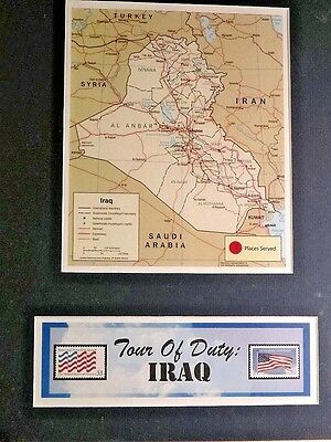 Iraq Tour Of Duty Postmark Gallery - U.s. Post Office Framed Map -New Condition