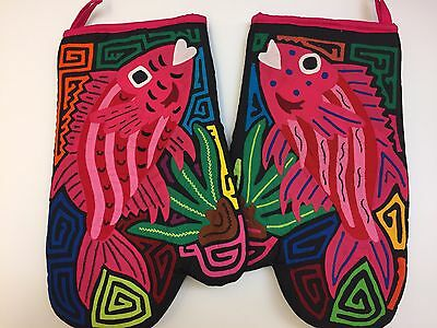Authentic Mola Oven Mitts - Pink Fish (set of 2)
