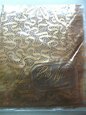Bas stockings vintage nylon fin transparant marron taille 1 neuf