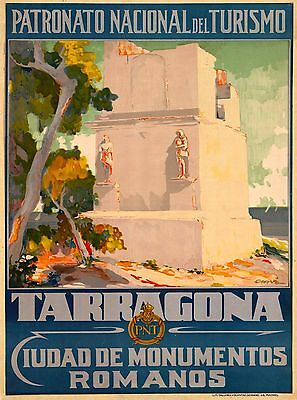 Tarragona Spain Vintage Spanish Travel Advertisement Art Poster Print