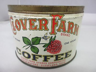 Vintage Clover Farm Brand Coffee Tin Advertising Collectible Graphics  M-512