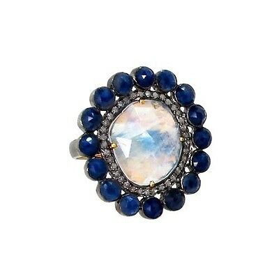 Moonstone & Sapphire Gemstone Sterling Silver Pave Diamond Cocktail Ring Jewelry