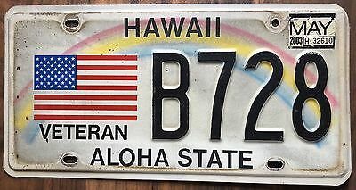 Hawaii Veteran Rainbow Retro Authentic Used Collectible License Plate #B728