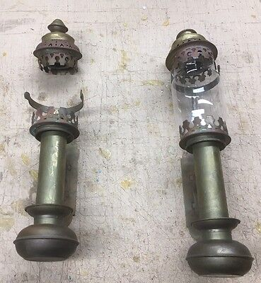 Antique Vtg Pair Box Coach Light Lanterns--- Brass--- Reproductions From 1970S