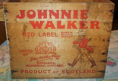 VINTAGE JOHNNIE WALKER SCOTCH RED LABEL WOOD/WOODEN CRATE New York