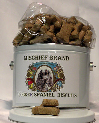 English Cocker Spaniel Mischief Brand Biscuit Tin & Cookies