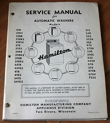 Hamilton Automatic Washers Service Manual Models 2T8 3T8 S3T 4T8 S4T & More!