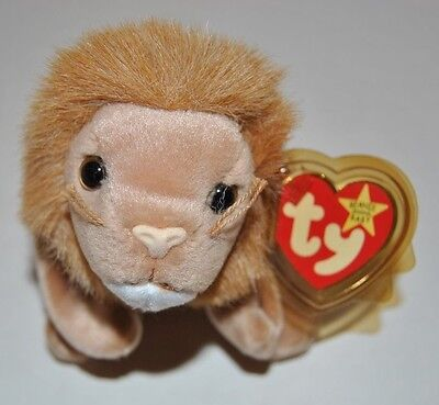 Ty Roary Lion Beanie Babies Collection With Display Case Protected Tag Retired