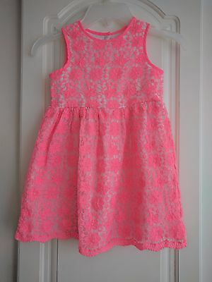 Baby Girls Occasion Pink White Crochet Lace Summer Dress Size 18 - 24 months