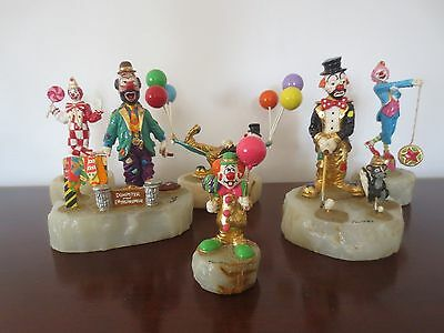 Lot of 6 Ron Lee Clown Sculptures on Onyx Base Hand Painted Rare!