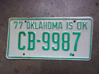 NOS Vintage Old License Plate Sign Oklahoma 1977 Car Tag Man Cave CB 9987