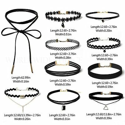 10Pcs Choker Necklace Set Black Stretch Velvet Classic Gothic Tattoo Lace Retro
