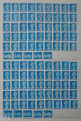 GB - 100 x 2nd Class Blue SA (FV £56) Used & Unfranked No Gum Stamps Off Paper