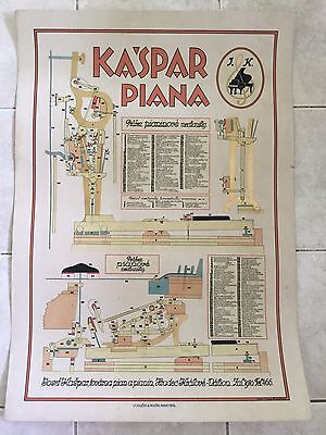Original vintage pull down school chart of Piano Kaspar litograph