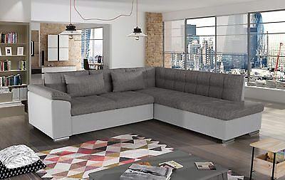 sale new siano fabric & leather corner sofa with bed in black grey white grey