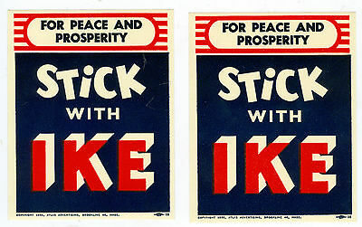 2 Mint Unused 1956 Stick With Ike For Peace & Prosperity Decals