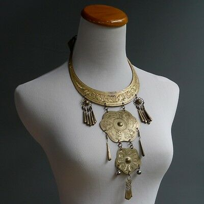 VTG 70s Tribal India Statement Piece Necklace Long Ethic Hippie Festival Collar