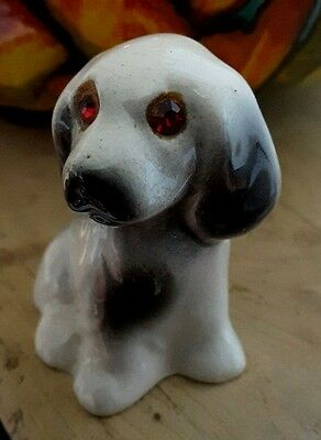 Weird Red Eyed Devil Dog Vintage Collectable Ceramic Spaniel Horror Gift