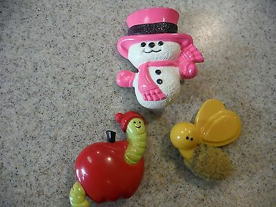 Lot 1970's Avon girls Collectible Perfume Pins/Brooches, Bee, Apple, Snowman