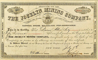 The Jocelyn Mining Company Stock for 50,000 shares, Leadville, Colorado (p#1864