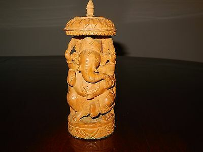 Vintage Hand Carved Wood Ganesh Elephant 3D Carved Statue 6 inch tall