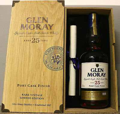 !!! LIMITIERT Glen Moray 25 Jahre 1988 Port Cask Finish 0,7l 43% !! RARE !!